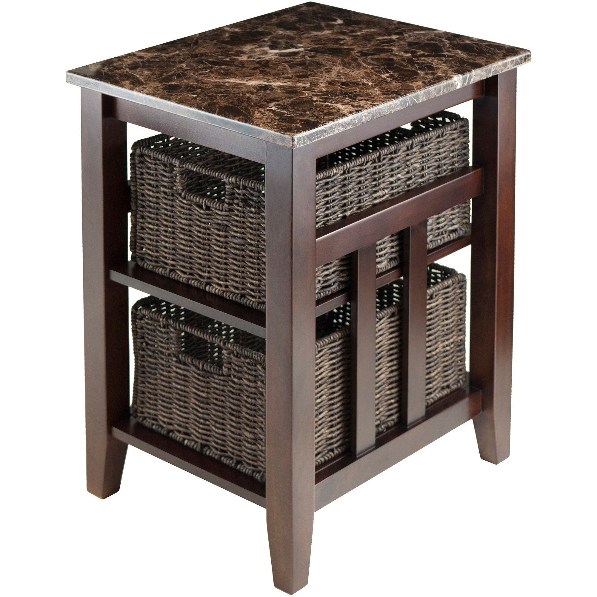 Winsome Wood Zoey Faux Marble Console Table w/ 3 Baskets, Walnut