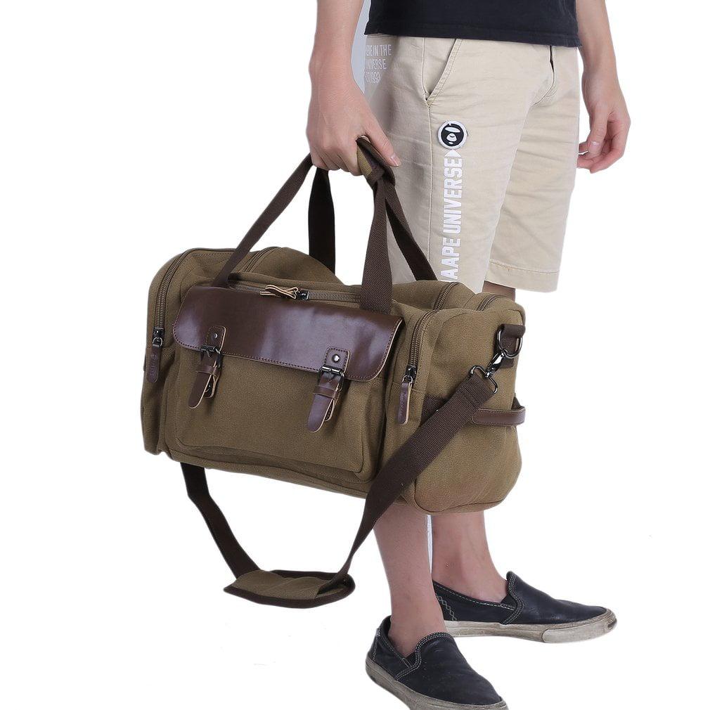 Canvas Leather Travel Bag Men Tote Bag Durable Carry-On Shoulder Handbag