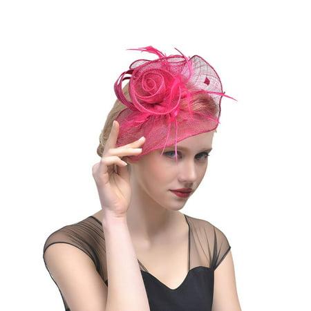 DZT1968 Women Flower Mesh Ribbons Feathers Headband Cocktail Tea Party Hat Headwear