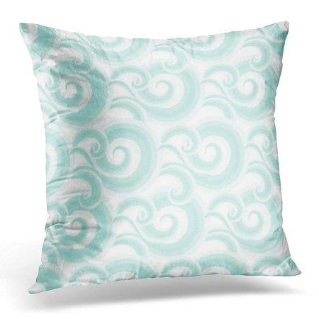 CMFUN Elegant Blue Curls and Swirls Nautical with Waves of Sky with Abstract Clouds Drawn Japanese Water Pillow Case Pillow Cover 20x20 inch