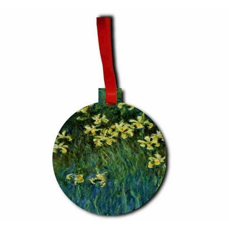 Artist Claude Monet's Yellow Irises Round - Shaped Flat Hardboard Christmas Holiday Ornament (Iris Christmas Ornament)