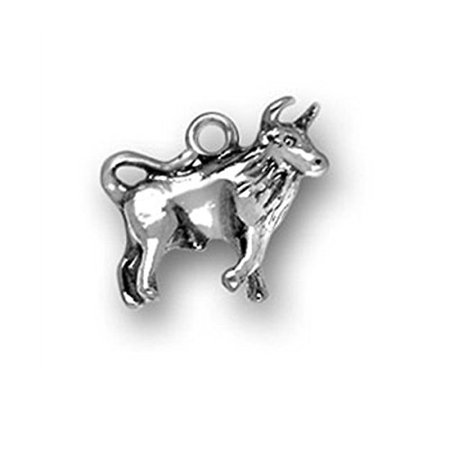 Sterling Silver Bull Charm or Taurus Zodiac Sign Charm Item #446 3D