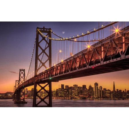 Classic Holiday Lights at San Francisco at Night, Treasure Island Print Wall Art By Vincent James