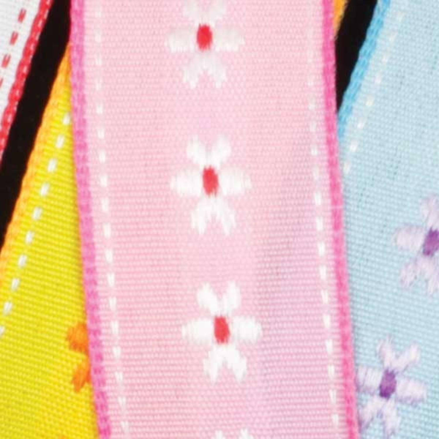 "Dainty Blossoms Pink and White Floral Wired Craft Ribbon 7/8"" x 54 Yards"