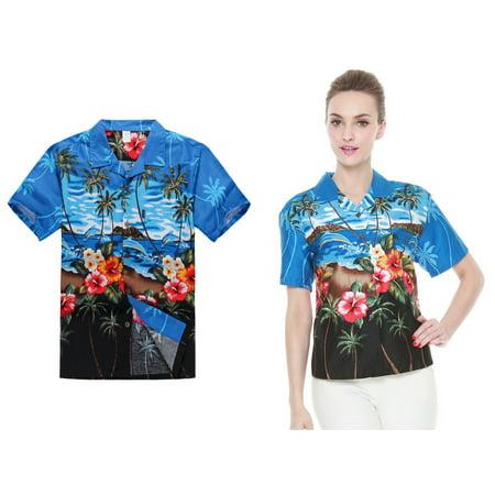 6f968fd6 Palm Wave - Couple Matching Hawaiian Luau Outfit Aloha Shirts in Dolphin  Blue - Walmart.com