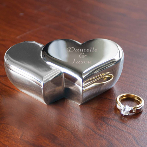 Personalized Double Heart Trinket Box