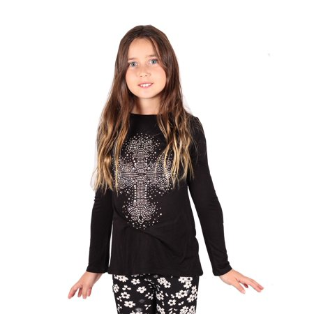 Lori & Jane Girls Black Studded Cross Long Sleeve Hi-Low Tunic
