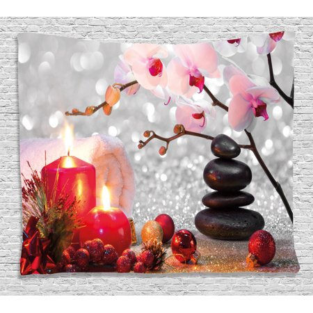 Spa Decor Tapestry  Winter Christmas Theme With Pink Orchid Stone And Red Candles Image  Wall Hanging For Bedroom Living Room Dorm Decor  60W X 40L Inches  Red Pink Black And White  By Ambesonne