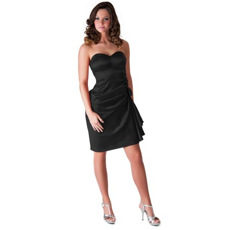 Faship Womens Elegant Side Pleated Formal Dress Black -