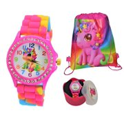 Gift Set Rhinestone-Accented Tie-Dye Rainbow Lucky Baby Unicorn Gift Watch  for Women/Girls. Eco Friendly Silicone Band.