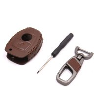 Brown Faux Leather Auto Car 2 Button Remote Key Cover Holder Case for Benz