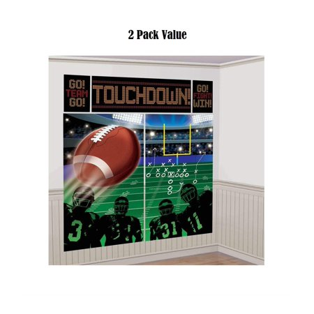 (2 PK) Football Frenzy Birthday Game Scene Setters Wall Decorating Kit, 5 Pieces, Made from Vinyl - Football Birthday Games