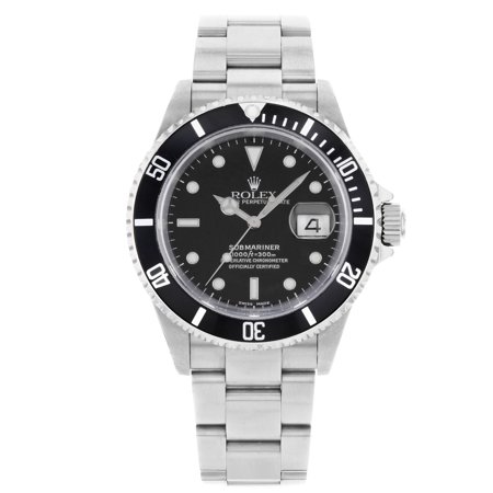 Pre-Owned Rolex Submariner 16610 2002 Black Dial No Holes Steel Automatic Mens
