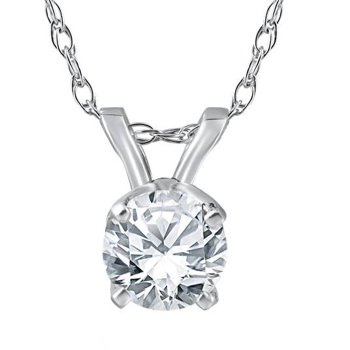 Pompeii3 14k White Gold 3/8ct Round Diamond Solitaire Pendant
