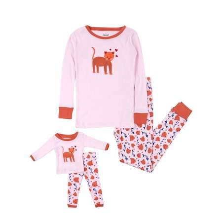 Leveret Kids Pajamas Matching Doll & Girls Pajamas 100% Cotton Pjs Set (Kitten,Size 8 Years)