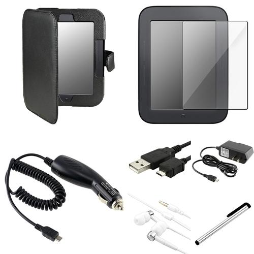 INSTEN Black Leather Case+2xFilm+USB+AC DC Charger For Nook 2 Simple Touch/Glowlight