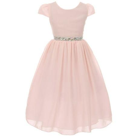 Little Girls Dress Short Sleeve Chiffon Rhinestone Belt Holiday Party Flower Girl Dress Blush Size 2 (K64K20)