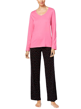 Charter Club Womens Flannel Mix It Top /& Printed Pants Pajama Set Reindeer