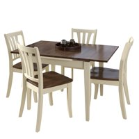 CorLiving Dillon 5 Piece Extendable Dark Brown and Cream Solid Wood Dining Set