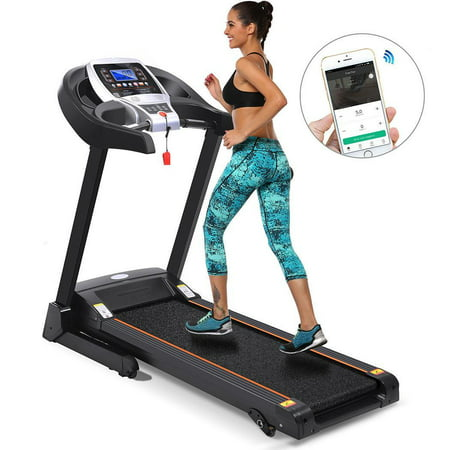 Hifashion Bluetooth Wifi+12 Running Program 2.25hp Electric Folding Treadmill With Manual Incline App control/Heart Rate Sensor
