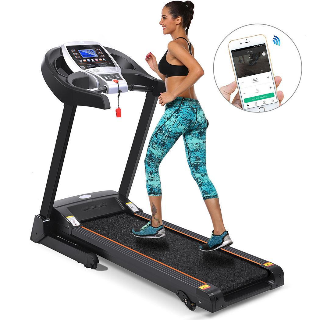 Hifashion Bluetooth Wifi+12 Running Program 2.25hp Electric Folding Treadmill With Manual Incline App control/Heart Rate Sensor HFON