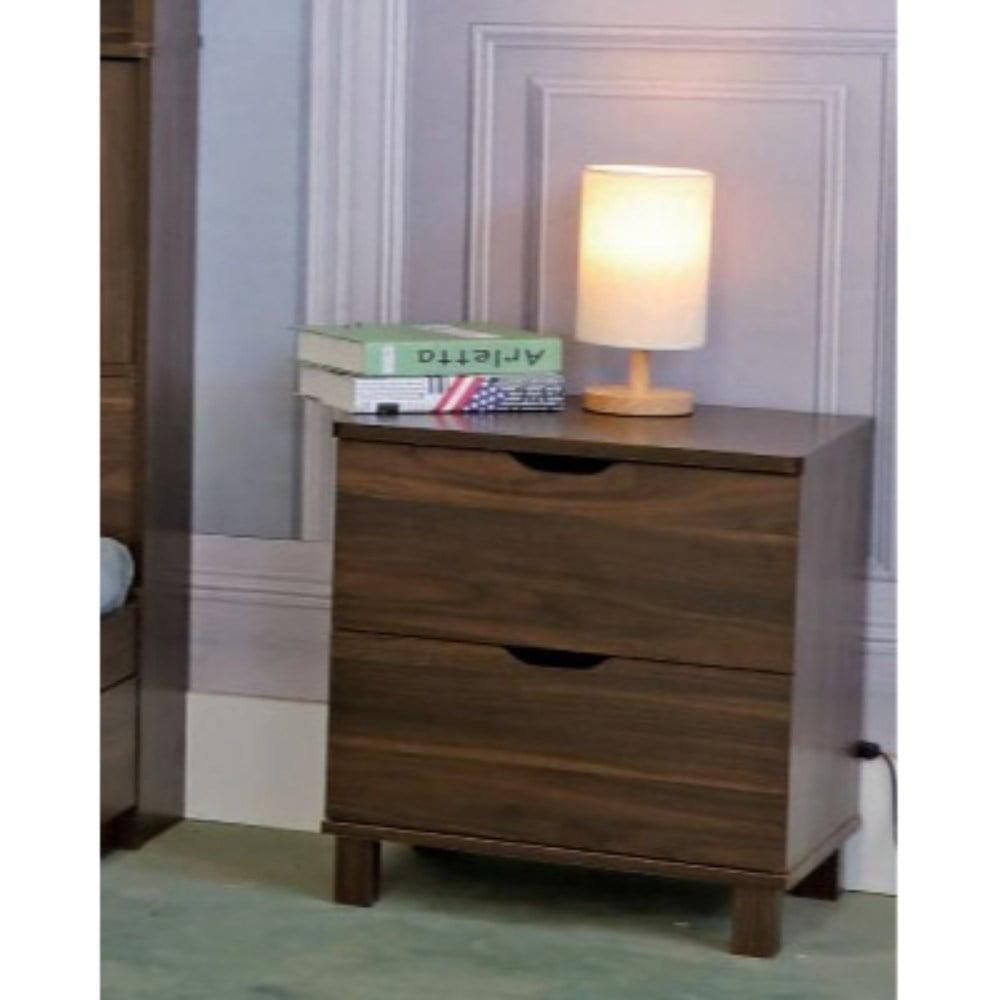 Benzara Wooden Night Stand With 2 Drawers , Dark Walnut Brown