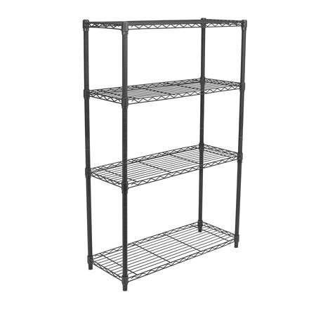 Internet's Best 4-Tier Wire Shelving | Flat Black | Heavy Duty Shelf | Wide Adjustable Rack Unit | Kitchen