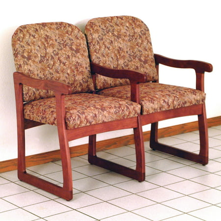 Wooden Mallet DW7-2 Solid Oak Sled Base 2-Seat Chair with Center Arms