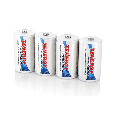 Tenergy Premium D Size 10,000mAh High Capacity NiMH Rechargeable Batteries, (Best Rechargeable D Batteries)