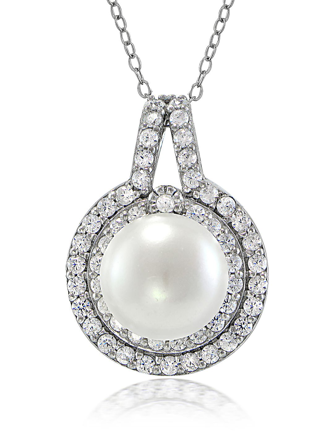 Faux Pearl, Cubic Zirconia and Sterling Silver Halo Pendant Necklace