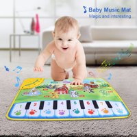 WALFRONT Baby Musical Mat Kids Piano Carpet Playmat Children Crawling Animal Blanket Educational Music Toy Boys Girls Birthday Christmas Gift