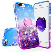 iPod Touch 6 Case, iPod 6/5 Case,Glitter Liquid Quicksand Bling Sparkle Diamond Ring Stand Case For Apple iPod Touch 5/6th Generation, (Purple)