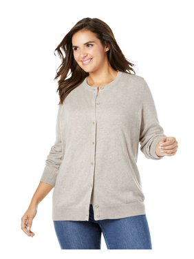 Woman Within Plus Size Perfect Long Sleeve Cardigan