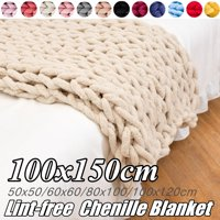 Washable Chunky Knit Luxury Throw Blanket Knitted Premium Skin-friendly Soft Chenille Bulky Blankets for Cuddling up in Bed, on the Couch or Sofa