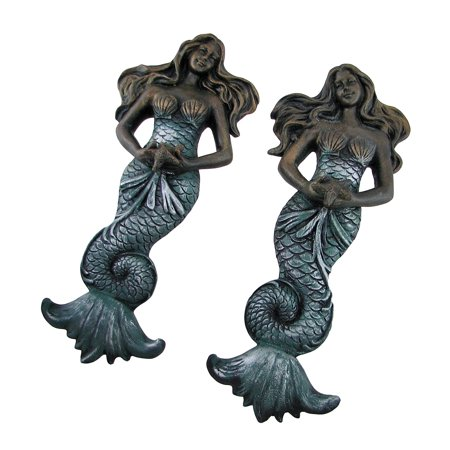 Set of 2 Elegant Bronze Finish Mermaid Wall (Bronze Plaque)