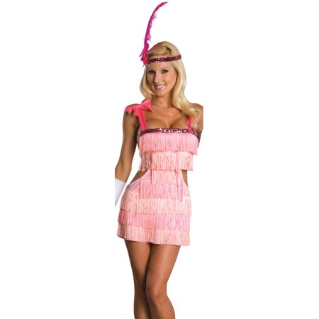 Adult Small  Pink Flapper Girl Costume Dress 6-9](Pink Flapper Girl Costume)