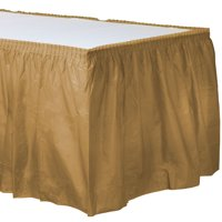 """Gold Plastic Table Skirt 