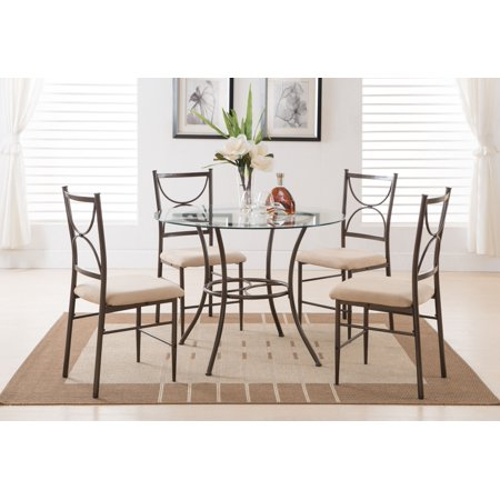 5 Piece Copper Metal Glass Round Kitchen Dinette Dining Table 4 Side Chairs Set