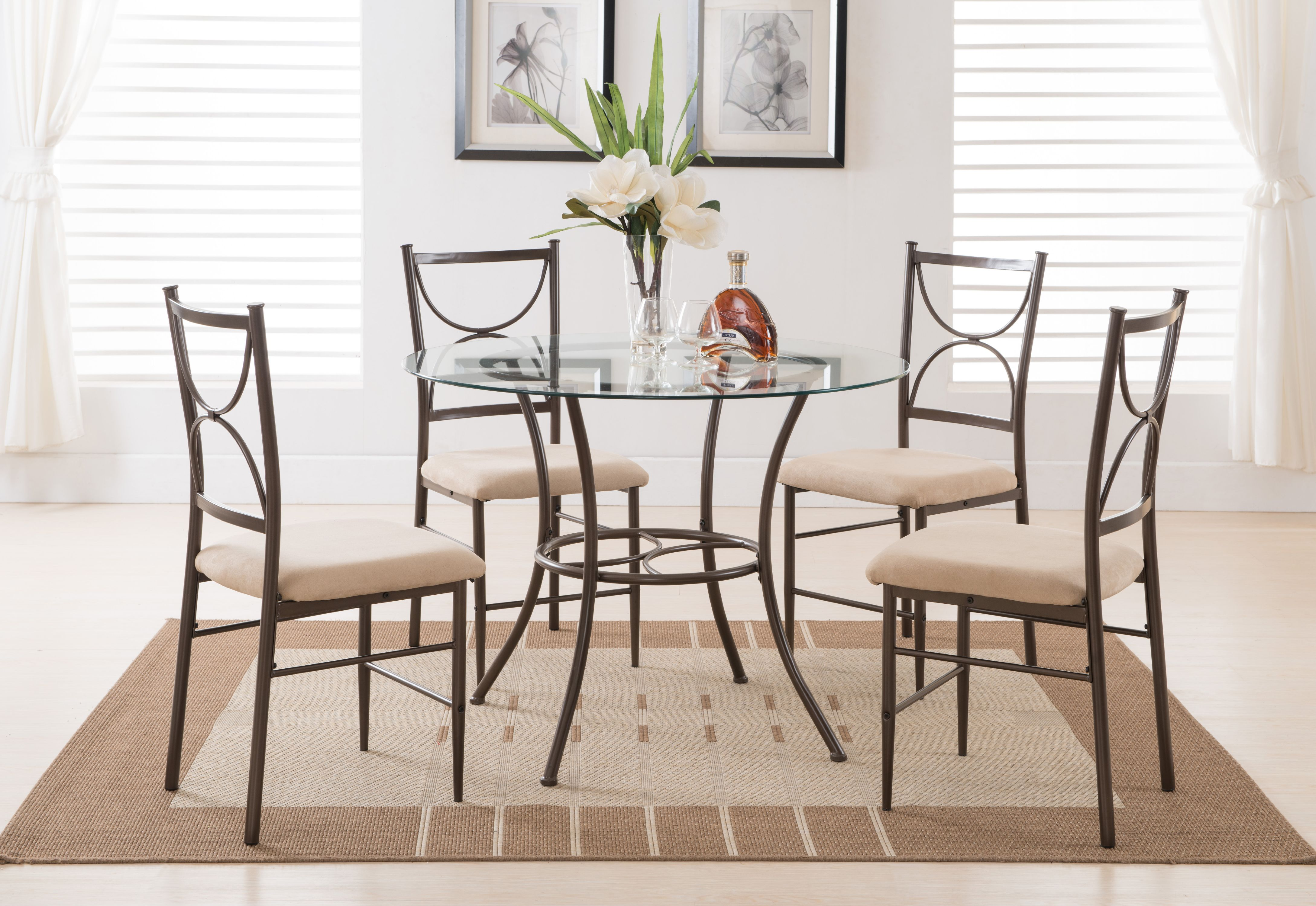 5 piece copper metal u0026 glass round kitchen dinette dining table u0026 4 side chairs set