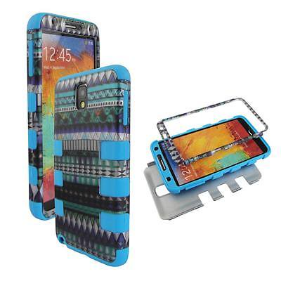 - For Samsung Galaxy Note 3 III N9000 Hybrid Drop Protective Shock Proof Shock Absorb Enhanced Bumper Dual Layer Designer Case Shield Box Blu Blue Aztec Case Cover