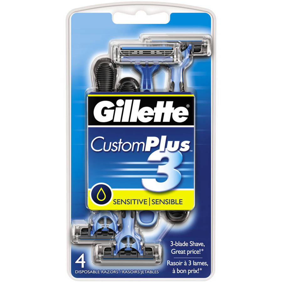 Gillette Custom Plus3, Disposables, Sensitive, 4ct