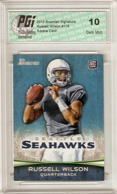 Russell Wilson 2012 Bowman Signature Blue #116 Seahawks Rookie Card PGI 10 by PGI