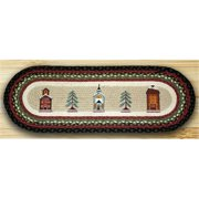 Earth Rugs 68-338WV Oval Patch Printed Runner, Winter Village