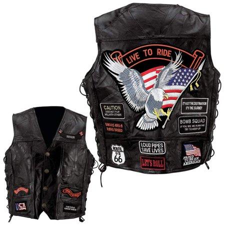 Diamond Plate™ Rock Design Genuine Buffalo Leather Vest - 3x - -