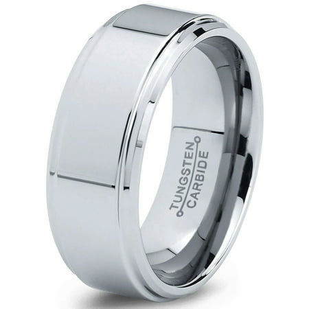 Tungsten Wedding Band Ring 8mm for Men Women Comfort Fit Step Beveled Edge Polished Lifetime Guarantee - Men Tungsten Step Edges