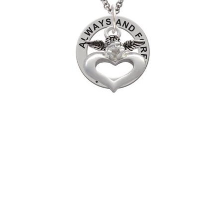 Guardian Angel over Heart Always and Forever Affirmation Ring Necklace - Guardian Angel Necklace