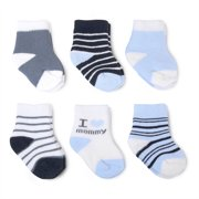 Infant Baby Boy 6 Pack 'I Love Mommy' Crew Socks, 0-6M