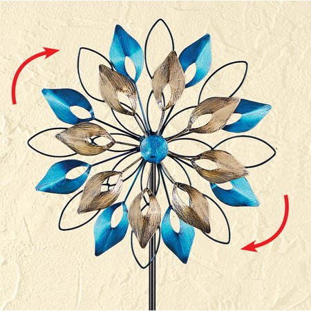 Blue & Gold Double Wheel Wind Spinner Garden Stake Metal Art Decoration ()