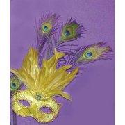 Safari Eye Venetian, Masquerade, Mardi Gras Mask W/Peacock Feathers