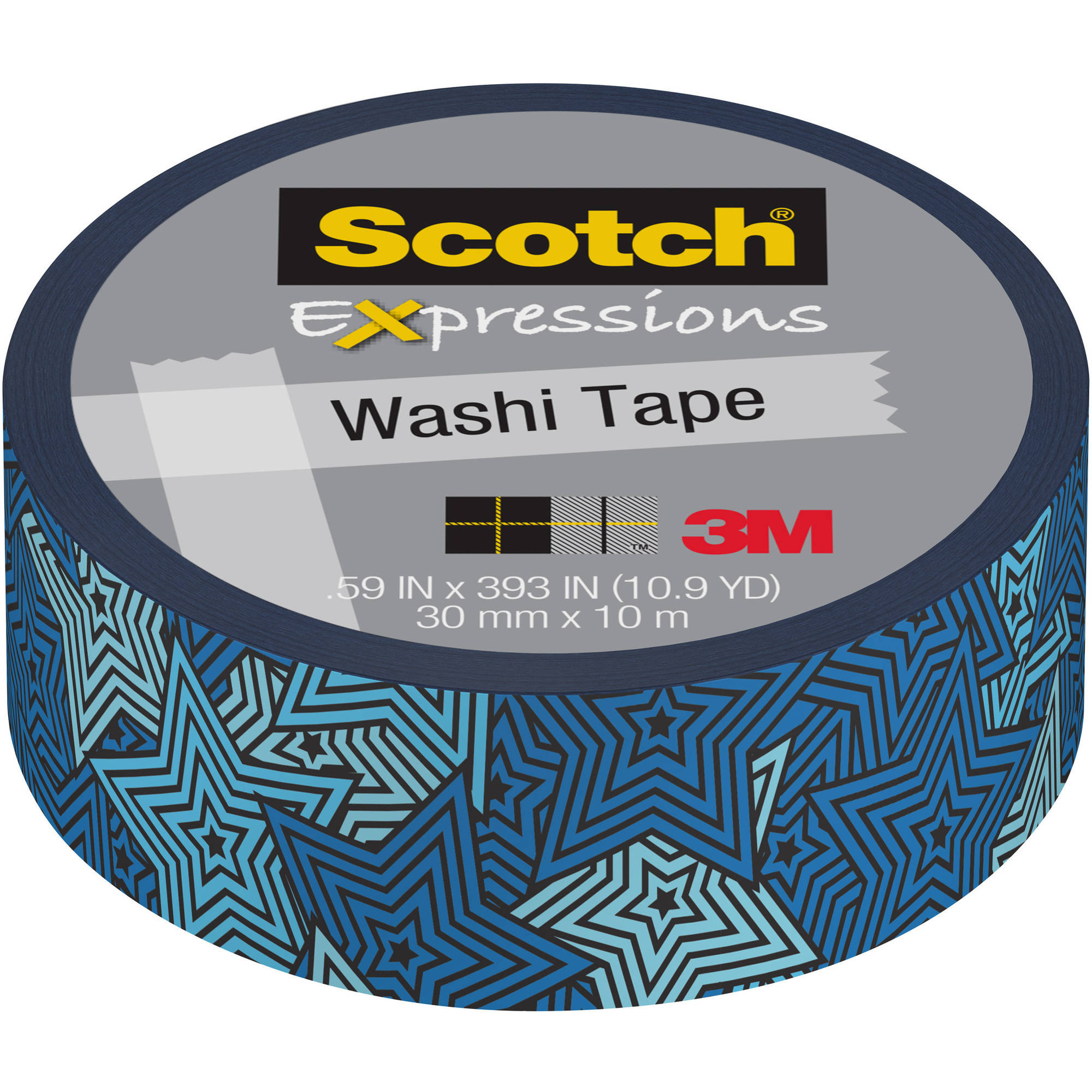 "Scotch Expressions Washi Tape, .59"" x 393"", Retro Blue Stars"